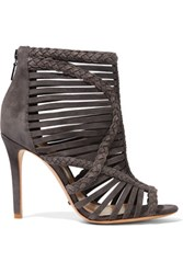 Schutz Braided Suede Sandals Dark Gray