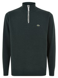 Lacoste Marl Knit Sweater With Zip Collar Green