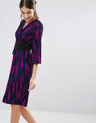 Closet London Cross Over Tulip Dress Blue Black Purple