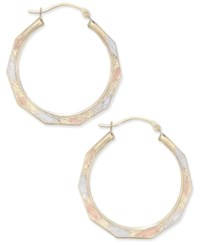 Macy's Tri Color Decorative Hoop Earrings In 10K White Yellow And Rose Gold