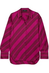 Joseph Doy Striped Silk Satin Blouse Pink