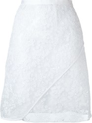 Carven Embroidered Organza Skirt White