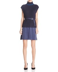 Timo Weiland Franny Turtleneck Knit Combo Dress Navy Electric Blue