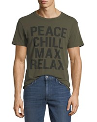Chaser Peace Chill Slogan T Shirt Olive