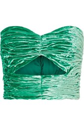 Attico Cutout Ruched Stretch Velvet Bustier Top Green