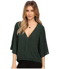 Bb Dakota River Crepe De Chine Flowy Tee Hunter Women's Blouse Green