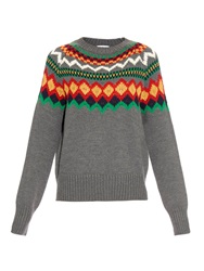 Stella Jean Scottsdale Intarsia Knit Wool Sweater