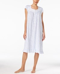 Eileen West Lace Trimmed Floral Print Nightgown White Blue
