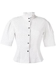 Sonia Rykiel By Short Sleeve Poplin Blouse Women Cotton 42 White