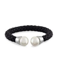 Majorica 14Mm White Pearl And Braided Leather Bangle Black Pearl