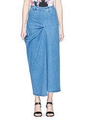 Stella Mccartney 'Heidi' Draped Side Denim Maxi Skirt Blue
