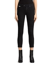 Allsaints Biker Cropped Jeans In Washed Black