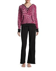 Betsey Johnson Microfleece Hoodie And Pajama Pants Set Pink
