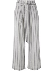 Masscob Striped Cropped Trousers Women Cotton Hemp 42 Blue