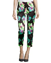 Lafayette 148 New York Floral Print Ankle Cropped Pants Black Multi