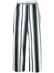 Blugirl Striped Wide Leg Trousers Women Cotton Spandex Elastane 42 Blue