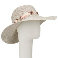 John Lewis Glam Floppy Packable Scarf Detail Sun Hat Brown Mix