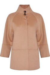 Carolina Herrera Wool Angora And Cashgora Blend Coat Camel