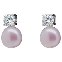 Lido Pearls Freshwater Pearl And Cubic Zirconia Stud Earrings Pink