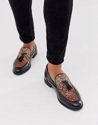 House Of Hounds Clash Tassle Loafers In Red Brocade Black