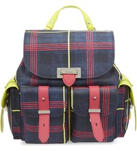 Aspinal Of London The Etre Cecile Plaid Leather Backpack Navy