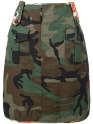 Harvey Faircloth Floral Detail Army Skirt Green
