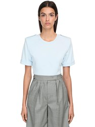 Max Mara Cotton Jersey T Shirt W Shoulder Pads Light Blue