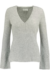 Derek Lam 10 Crosby By Button Detailed Ribbed Cashmere Sweater Gray