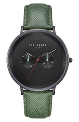 Ted Baker London Brad Multifunction Leather Strap Watch 42Mm Black Dark Green