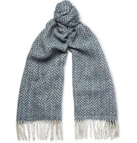 Richard James Herringbone Wool And Cotton Blend Scarf Blue