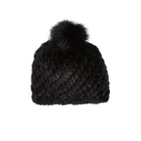 Barneys New York Mink And Fox Fur Knit Beanie Black