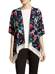 Lulla Collection By Bindya Floral Print Open Front Cape Multi