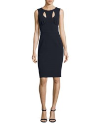 Milly Cressida Sleeveless Stretch Crepe Dress W Cutouts Navy