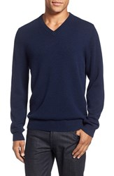 Nordstrom Men's Big And Tall Men's Shop Cashmere V Neck Sweater Navy Charcoal