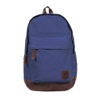 Mahi Leather Canvas Classic Backpack Rucksack In Blue Canvas