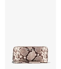 Jet Set Travel Embossed Leather Continental Wristlet