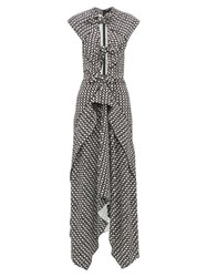 Proenza Schouler Knotted Cut Out Checked Maxi Dress Black White