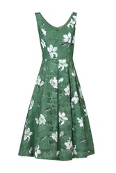 Jolie Moi Floral Print Lace Prom Dress Dark Green