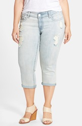 7 For All Mankind Distressed Rolled Cuff Crop Skinny Jeans Cherokee Plus Size
