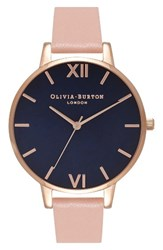 Olivia Burton Women's Big Dial Leather Strap Watch 38Mm Dusty Pink Midnight