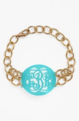 Women's Moon And Lola 'Annabel' Medium Oval Personalized Monogram Bracelet Robins Egg Gold Nordstrom Exclusive