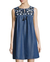 Cynthia Steffe Dottie Embroidered Sleeveless Dress Medium Blue