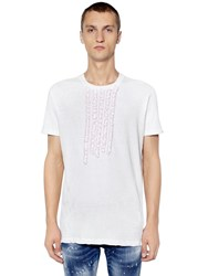 Dsquared Cotton Jersey T Shirt W Ruffled Details White Pink