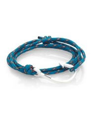 Miansai Hook Rope Wrap Bracelet Silvertone Grey Blue Kelly Green Caribbean