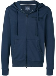 Woolrich Embroidered Logo Zipped Hoodie Blue