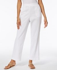 Alfred Dunner Pull On Wide Leg Pants White