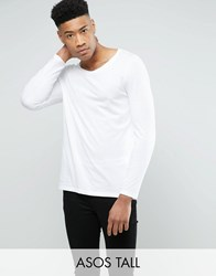 Asos Tall Long Sleeve T Shirt With Scoop Neck In White White