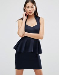 Ax Paris Plunge Front Peplum Mini Dress Navy