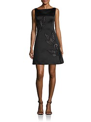 Kay Unger Floral Embroidered Dress Black