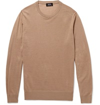 A.P.C. Wool Silk And Alpaca Blend Sweater Brown